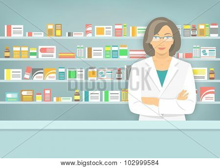 Flat Style Woman Pharmacist At Pharmacy Opposite Shelves Of Medicines