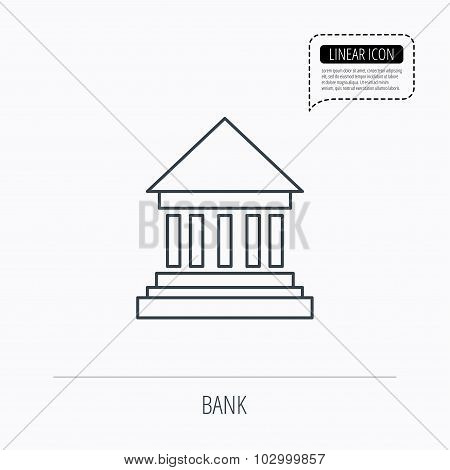 Bank icon. Court house sign.