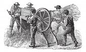 Постер, плакат: Old engraved illustration of five people using threshing machine also known as thrashing machine in