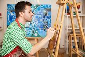 ������, ������: Male Artist Working A Painting