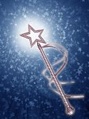stock photo of magic-wand  - Illustration of a platinum fairy wand on a starry background - JPG