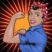Retro Stong Powerful Woman Revolution Sign. poster