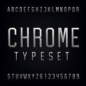 Chrome Alphabet Vector Font. poster