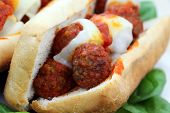 pic of meatball  - Macro of a Meatball Hoagie with provolone cheese - JPG