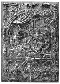 stock photo of stanislaus church  - Low relief of a French chest of the sixteenth century - JPG