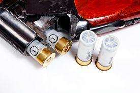 picture of shotgun  - Hunting shotgun and ammunition on white background - JPG