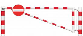 stock photo of gate  - Gated Road Barrier Closeup No Entry Sign Roadway Gate Bar In Bright White And Red Traffic Stop Block And Vehicle Security Point Gateway Gated Isolated Closed Way Entrance Checkpoint Halt Roadsign Signage Warning Symbol Restricted Area Blocker - JPG