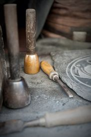 pic of chisel  - chisel and chisel craftsman isolated on wooden table - JPG