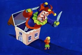 stock photo of jack-in-the-box  - in the night a huge jack in the box comes out of a house and scare a little girl - JPG