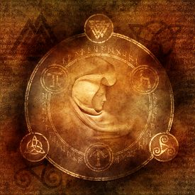foto of triquetra  - Pagan Sorceress with robed and hooded female figure enclosed within a magic circle of mysterious pagan and runic symbols - JPG