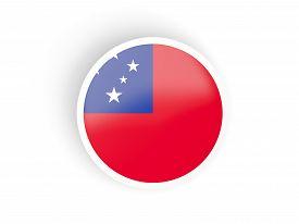 stock photo of samoa  - Round sticker with flag of samoa isolated on white - JPG