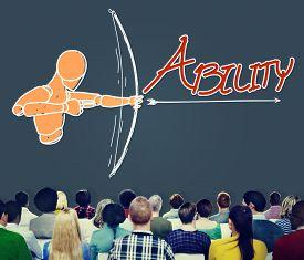 stock photo of archery  - Ability Talent Strength Archery Aim Concept - JPG