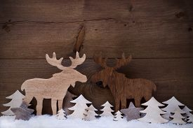 stock photo of ribbon decoration  - Christmas Decoration With Moose Couple In Love On White Snow - JPG