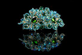 pic of brooch  - Colorful gem brooch brooch in the form of a flower on black background - JPG