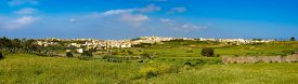 pic of gozo  - Panorama view of Mgarr city with green field - JPG