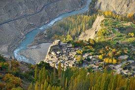 picture of karakoram  - Beautiful Landscape of Hunza Valley and Ancient Fortress in Autumn season - JPG