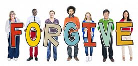stock photo of forgiveness  - Group of People Standing Holding Forgive Letter - JPG