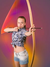 foto of archery  - Teen girl practicing archery standing on abstract background - JPG