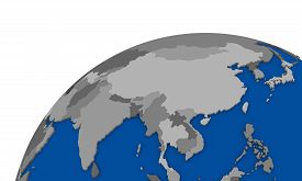picture of southeast  - Illustration of southeast Asia region on political globe - JPG