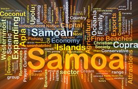 picture of samoa  - Background concept wordcloud illustration of Samoa glowing light - JPG