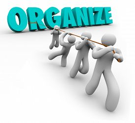 stock photo of union  - Organize word pulled by a team of workers - JPG