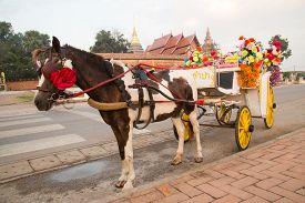 stock photo of carriage horse  - Horse carriage at temple Phra That Lampang Luang Lampang Thailand - JPG