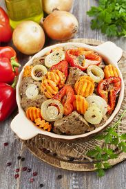 image of liver fry  - Liver fried with paprika carrot and onion on the table - JPG