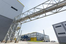 image of combustion  - New modern industrial waste plant from the outside - JPG