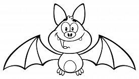 stock photo of vampire bat  - Black And White Happy Vampire Bat Cartoon Character Flying - JPG