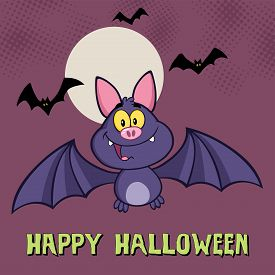 foto of vampire bat  - Smiling Vampire Bat Cartoon Character Flying Greeting Card - JPG