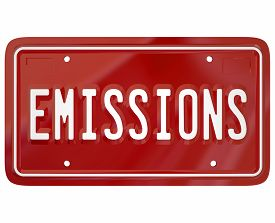 pic of polluted  - Emissions word on a red car or vehicle license plate to illustrate meeting or passing government rules - JPG