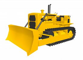picture of bulldozers  - Computer generated 3D illustration with a bulldozer isolated on white background - JPG