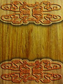 image of celtic  - wood background with celtic pattern  - JPG