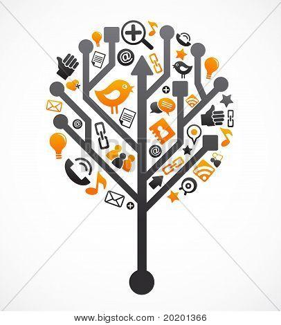 Árvore de rede social com ícones de mídia