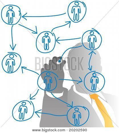 Business human resources manager drawing a people diagram from behind frosted glass
