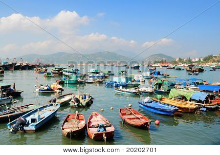 Hong Kong Cheung Chau island, colorfull fishing boats in harbor