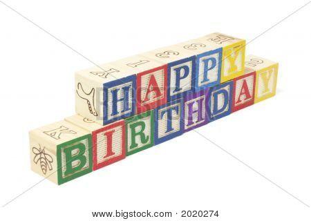 Alphabet Blocks - Happy Birthday