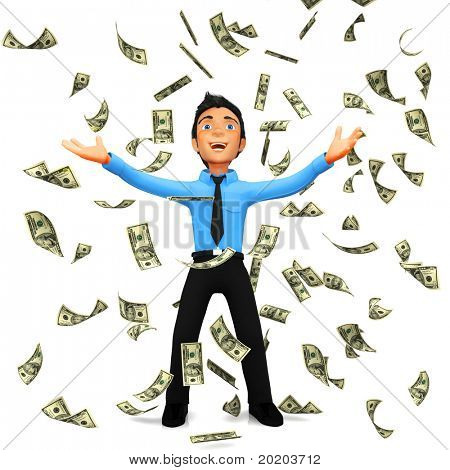3D business man under a dollar rain - isolated over a white background