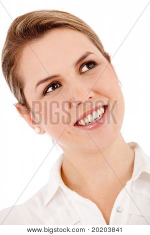 Thoughtful business woman portrait smiling - isolated over white