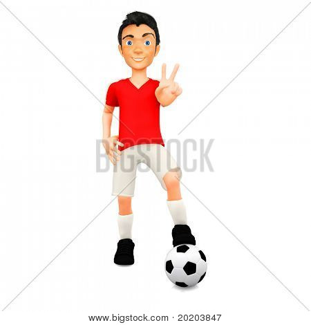 3D Male football player with a ball - isolated over white