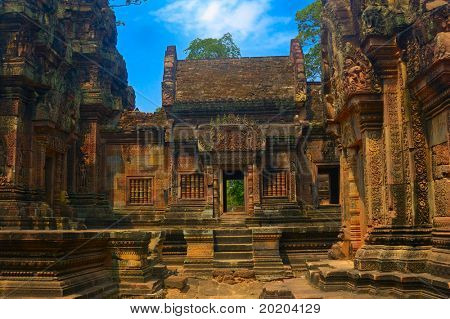 A view of the one of the  ruined budhist temple in Angkor,Cambodia