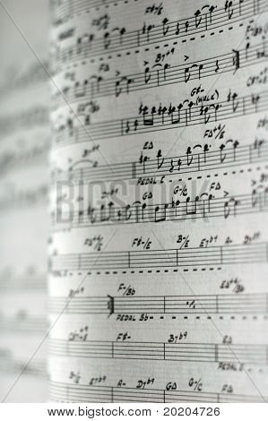 close-up of sheet music of an old jazz classic