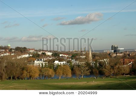 landscape with blue sky in a park in london on a cold winter day