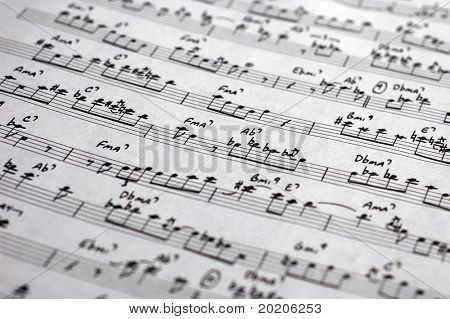 close-up of sheet music / score of an old jazz classic