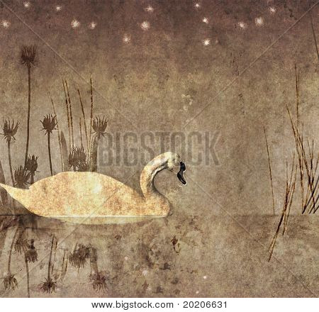 lovely monochrome illustration featuring a swan, stars, flora and plenty of space for text