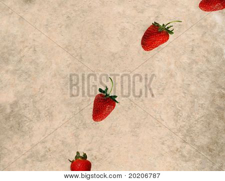 abstract light background image with red strawberries