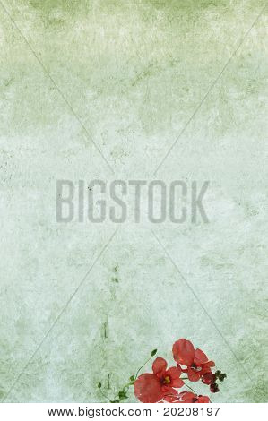 lovely green background image with interesting texture, floral elements and plenty of space for text