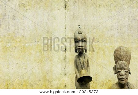 lovely background image with close-up of west african wooden figures