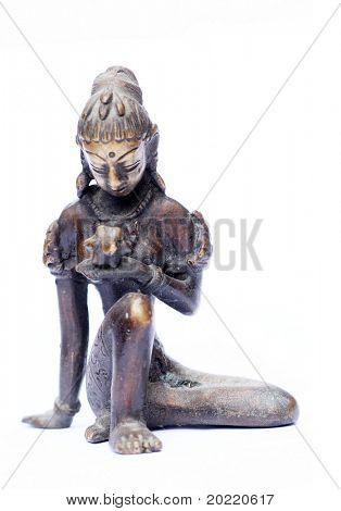 schöne indische Abbildung einer jungen Frau, die Beobachtung einer Lotusblüte