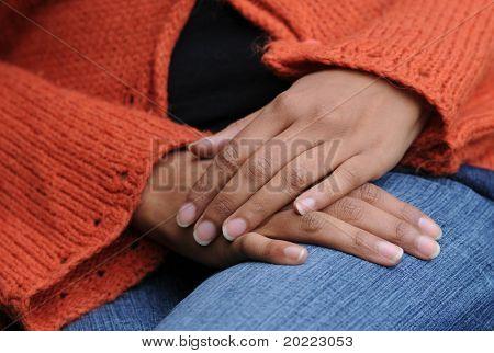 feminine hands in repose